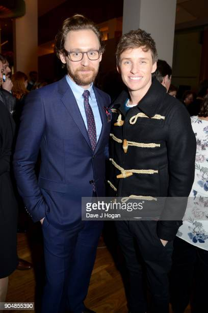 Tom Hiddleston and Eddie Redmayne attend the 'Early Man' World Premiere after party held at Skylon on January 14 2018 in London England