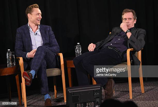 Tom Hiddleston and Hugh Laurie speak onstage during The New York Times TimesTalks at Directors Guild of America Theater on April 11 2016 in New York...