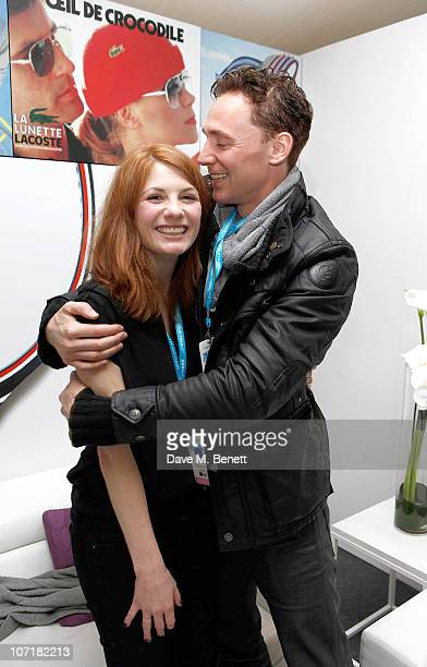 Tom Hiddleston and Jodie Whittaker at the Lacoste VIP Lounge at the ATP World Tour Finals in the O2 Arena on November 27 2010 in London England