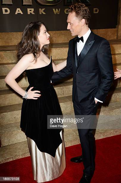 Tom Hiddleston and Kat Dennings attend the world premiere of Thor The Dark World at The Odeon Leicester Square on October 22 2013 in London England