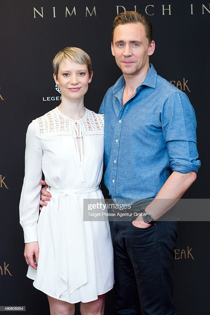Tom Hiddleston and Mia Wasikowska attend the 'Crimson Peak' photocall at The Regent Hotel on September 30, 2015 in Berlin, Germany.