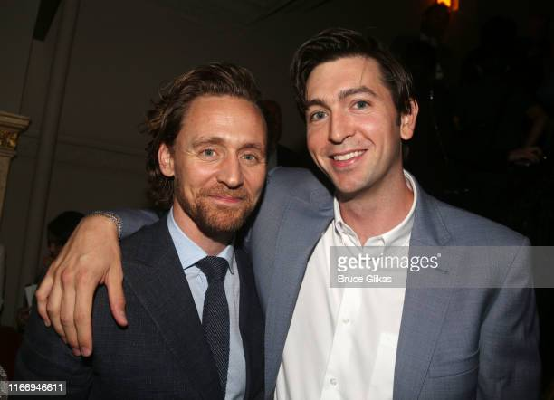 Tom Hiddleston and Nicholas Braun pose at the opening night of Sea Wall/A Life on Broadway at The Hudson Theatre on August 8 2019 in New York City