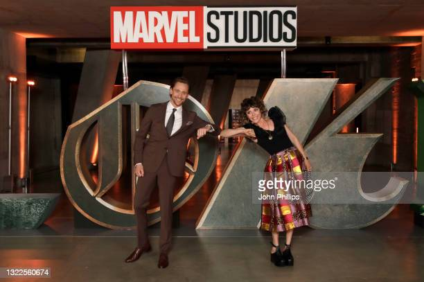 Tom Hiddleston and Sophia Di Martino attend the Special Screening of Marvel Studios' series LOKI on June 08, 2021 in London, England. LOKI will...