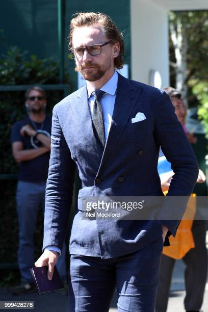 Tom Hiddleston arrives at Wimbledon Tennis for Men's Final Day on July 15 2018 in London England