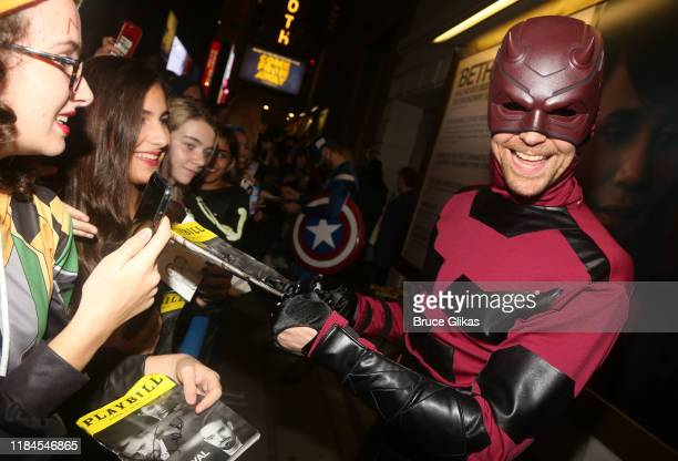 Tom Hiddleston as Daredevil greets fans as the Broadway cast of Betrayal celebrate Halloween at The Bernard B Jacobs Theatre on October 30 2019 in...