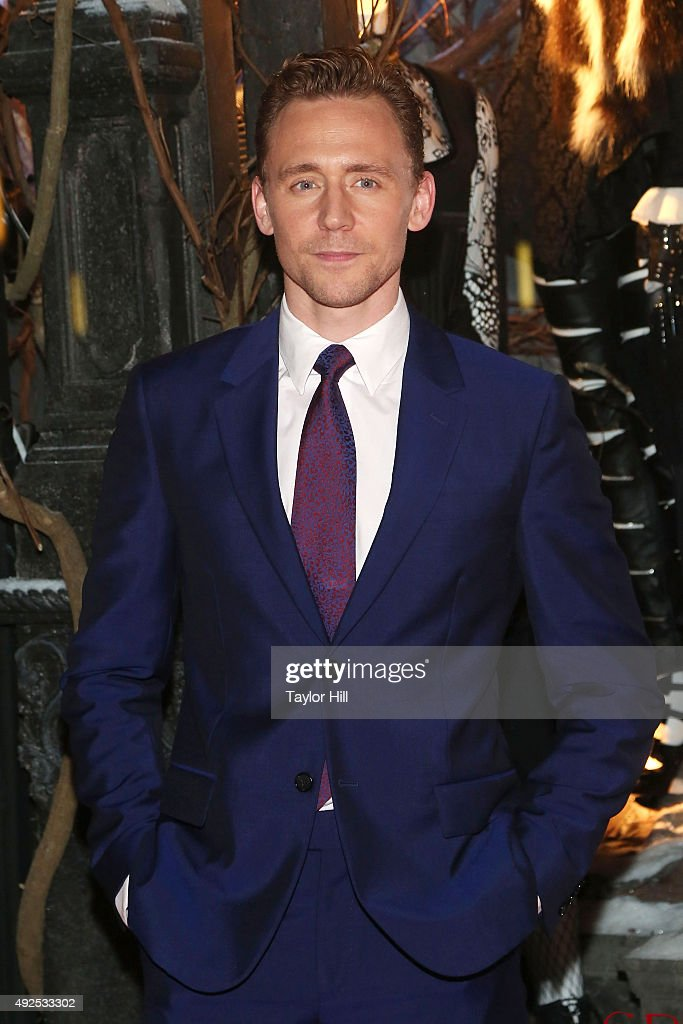 Tom Hiddleston attends a celebration of Bergdorf Goodman Windows inspired by the Legendary Pictures and Universal Pictures film, 'Crimson Peak' at Bergdorf Goodman on October 13, 2015 in New York City.
