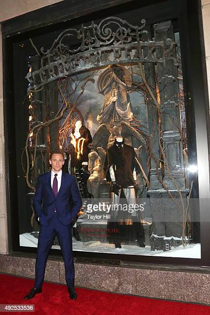 Tom Hiddleston attends a celebration of Bergdorf Goodman Windows inspired by the Legendary Pictures and Universal Pictures film Crimson Peak at...