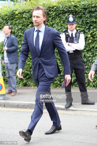 Tom Hiddleston attends Men's Final Day at the Wimbledon 2019 Tennis Championships at All England Lawn Tennis and Croquet Club on July 14 2019 in...