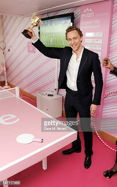 Tom Hiddleston attends the evian 'Live young' VIP Suite at Wimbledon on June 25, 2012 in London, England.
