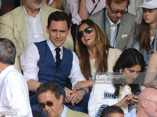Tom Hiddleston attends the Mens Singles Final on Day 13 of the Wimbledon Lawn Tennis Championships at the All England Lawn Tennis and Croquet Club on...