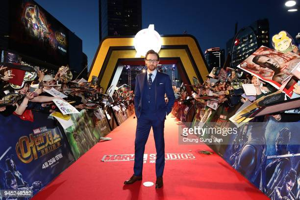 Tom Hiddleston attends the Seoul premiere of 'Avengers Infinity War' on April 12 2018 in Seoul South Korea