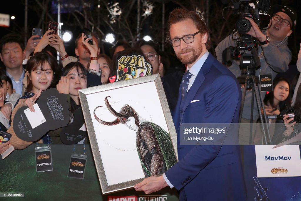 Tom Hiddleston attends the Seoul premiere of 'Avengers Infinity War' on April 12, 2018 in Seoul, South Korea.