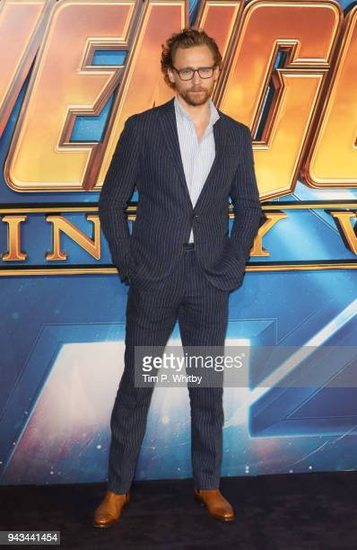 Tom Hiddleston attends the UK Fan Event for 'Avengers Infinity War' at Television Studios White City on April 8 2018 in London England
