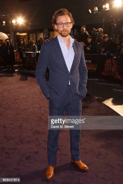 Tom Hiddleston attends the UK Fan Event for Avengers Infinity War at the Television Studios White City on April 8 2018 in London England