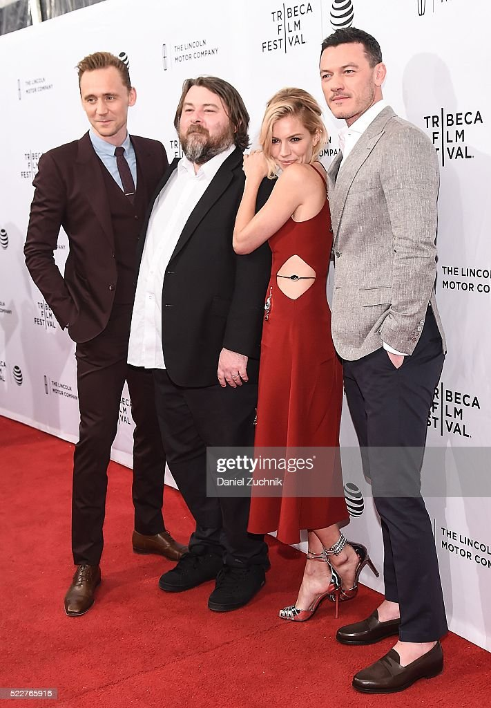 Tom Hiddleston, Ben Wheatley, Sienna Miller and Luke Evans attend the 'High-Rise' premiere during the 2016 Tribeca Film Festival at SVA Theatre on April 20, 2016 in New York City.