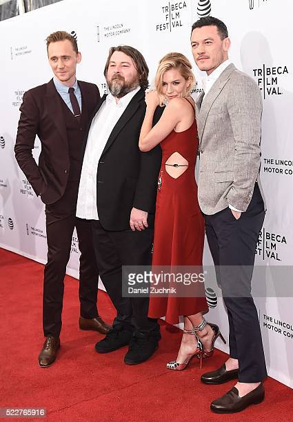 Tom Hiddleston Ben Wheatley Sienna Miller and Luke Evans attend the 'HighRise' premiere during the 2016 Tribeca Film Festival at SVA Theatre on April...