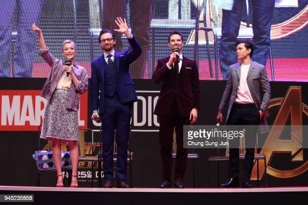 Tom Hiddleston Benedict Cumberbatch Pom Klementieff and Tom Holland attend the Seoul premiere of 'Avengers Infinity War' on April 12 2018 in Seoul...