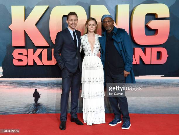 Tom Hiddleston Brie Larson and Samuel L Jackson attend the European premiere of 'Kong Skull Island' at the Cineworld Empire Leicester Square on...