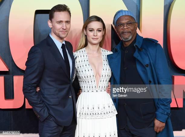 Tom Hiddleston Brie Larson and Samuel L Jackson attend the European premiere of Kong Skull Island at the Cineworld Empire Leicester Square on...