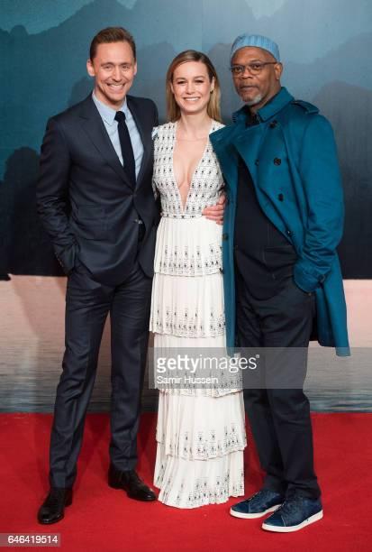 Tom Hiddleston Brie Larson and Samuel L Jackson attend the European premiere Of Kong Skull Island on February 28 2017 in London United Kingdom
