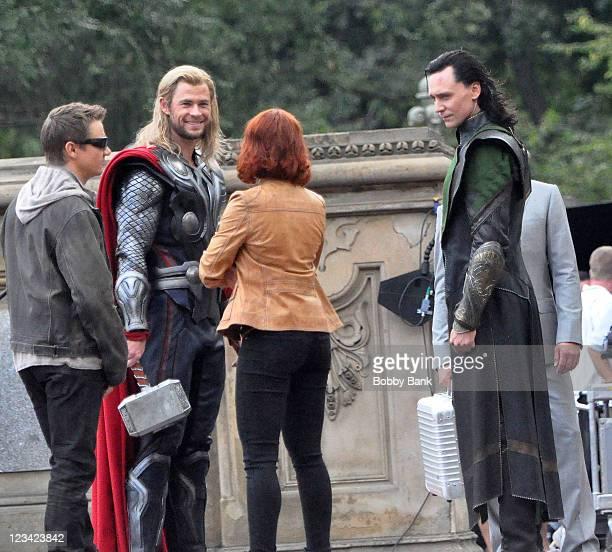 Tom Hiddleston Chris Hemsworth Jeremy Renner and Scarlett Johansson filming on location for 'Avengers' on September 2 2011 on the Streets of...
