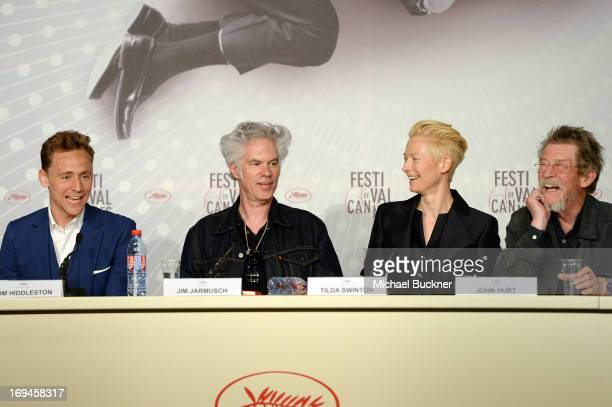 Tom Hiddleston Director Jim Jarmusch Tilda Swinton and John Hurt attend the 'Only Lovers Left Alive' press conference during The 66th Annual Cannes...