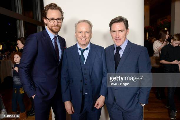 Tom Hiddleston director Nick Park and Rob Brydon attend the 'Early Man' World Premiere after party held at Skylon on January 14 2018 in London England