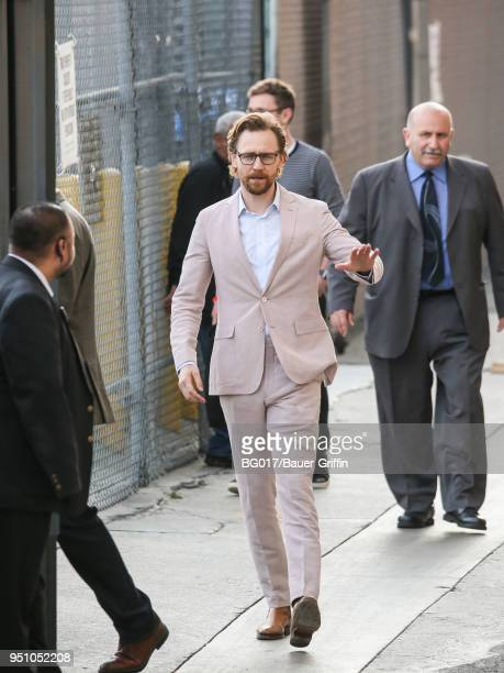 Tom Hiddleston is seen arriving at 'Jimmy Kimmel Live' on April 24 2018 in Los Angeles California