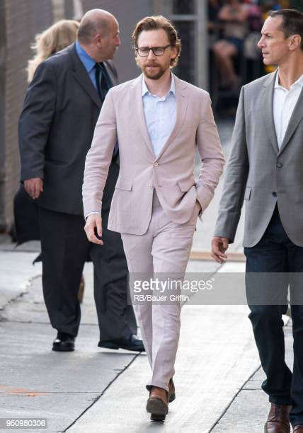 Tom Hiddleston is seen at 'Jimmy Kimmel Live' on April 24 2018 in Los Angeles California