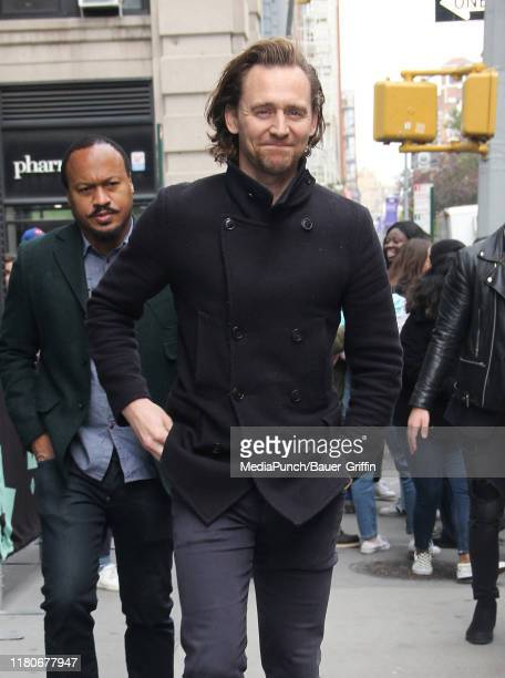Tom Hiddleston is seen at the 'Build' building on November 07 2019 in New York City