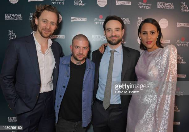 Tom Hiddleston Jamie Lloyd Charlie Cox and Zawe Ashton attend the press night after party for Betrayal at The Cafe In The Crypt St MartinintheFields...