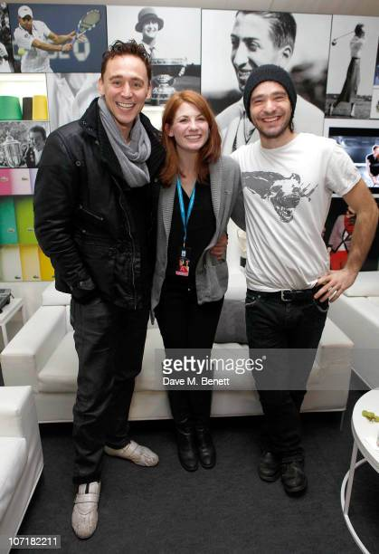 Tom Hiddleston Jodie Whittaker and Charlie Cox at the Lacoste VIP Lounge at the ATP World Tour Finals in the O2 Arena on November 27 2010 in London...