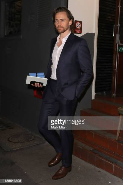 Tom Hiddleston leaving the Harold Pinter Theatre after his performance in Betrayal on March 13 2019 in London England