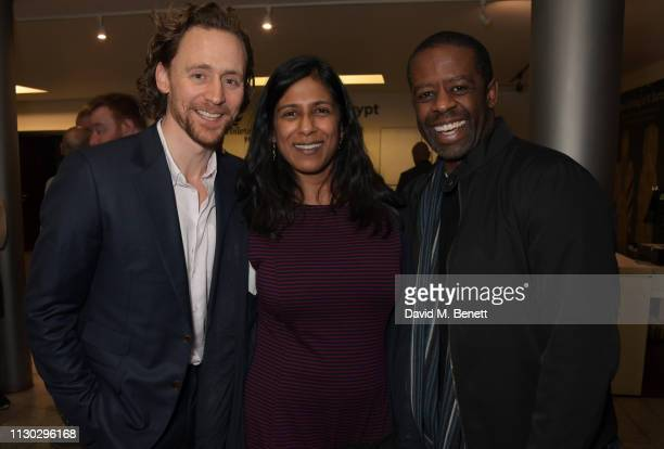 Tom Hiddleston Lolita Chakrabarti and Adrian Lester attend the press night after party for Betrayal at The Cafe In The Crypt St MartinintheFields on...