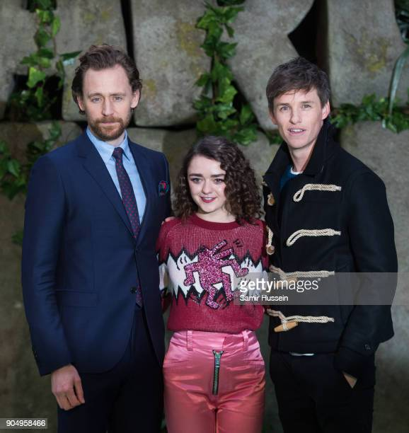 Tom Hiddleston Maisie Williams and Eddie Redmayne attend the 'Early Man' World Premiere held at BFI IMAX on January 14 2018 in London England