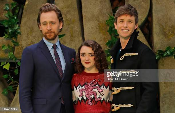 Tom Hiddleston Maisie Williams and Eddie Redmayne attend the World Premiere of 'Early Man' at BFI IMAX on January 14 2018 in London England