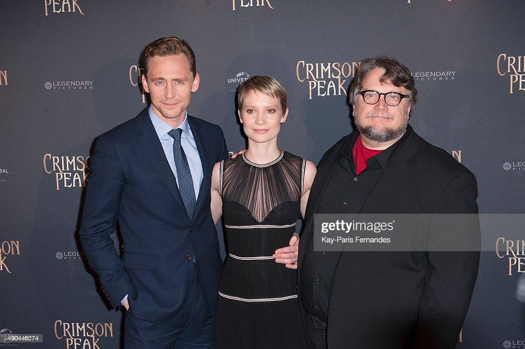 Tom Hiddleston, Mia Wasikowska and Guillermo del Toro attend the 'Crimson Peak' Paris Premiere at UGC Cine Cite Bercy on September 28, 2015 in Paris, France.
