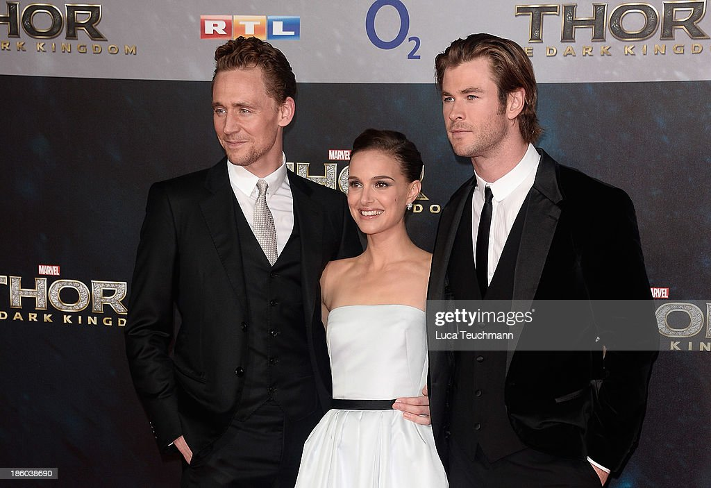 Tom Hiddleston, Natalie Portman and Chris Hemsworth arrive for