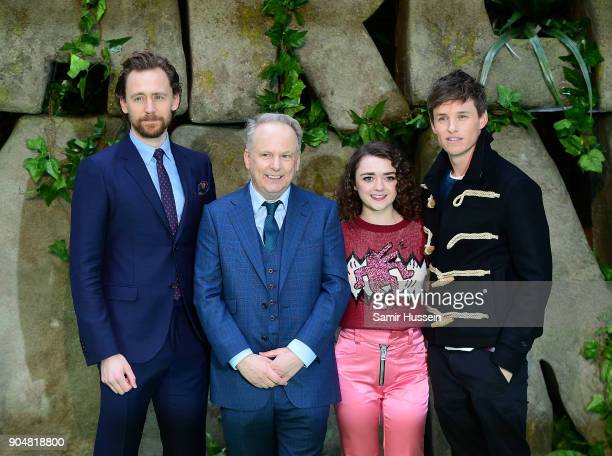Tom Hiddleston Nick Park Maisie Williams and Eddie Redmayne attend the 'Early Man' World Premiere held at BFI IMAX on January 14 2018 in London...