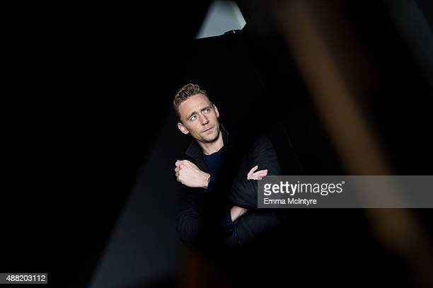 Tom Hiddleston of 'High Rise' poses for a portrait with Jeff Vespa in the Guess Portrait Studio on September 14 2015 in Toronto Canada