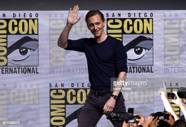 Tom Hiddleston of 'Thor Ragnarok' attends the Marvel Studios Presentation during ComicCon International 2017 at San Diego Convention Center on July...
