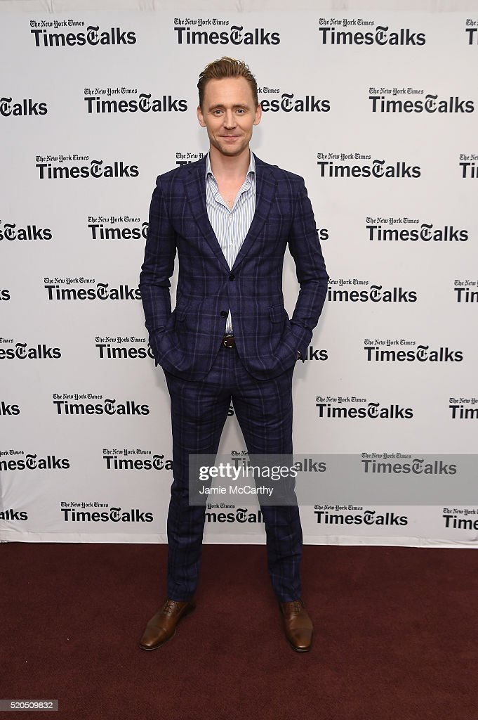 Tom Hiddleston poses before The New York Times TimesTalks at Directors Guild of America Theater on April 11, 2016 in New York City.