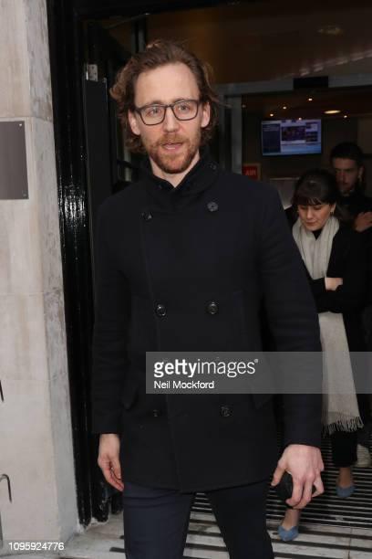 Tom Hiddleston seen leaving BBC Radio 2 on January 18 2019 in London England