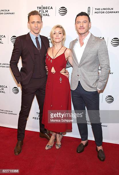 Tom Hiddleston Sienna Miller and Luke Evans attend HighRise Premiere 2016 Tribeca Film Festival at SVA Theatre 2 on April 20 2016 in New York City
