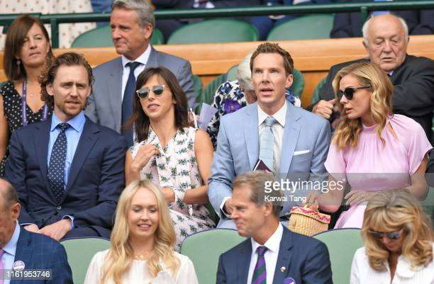 Tom Hiddleston, Sophie Hunter, Benedict Cumberbatch and Katherine Jenkins attend Men's Finals Day of the Wimbledon Tennis Championships at All...