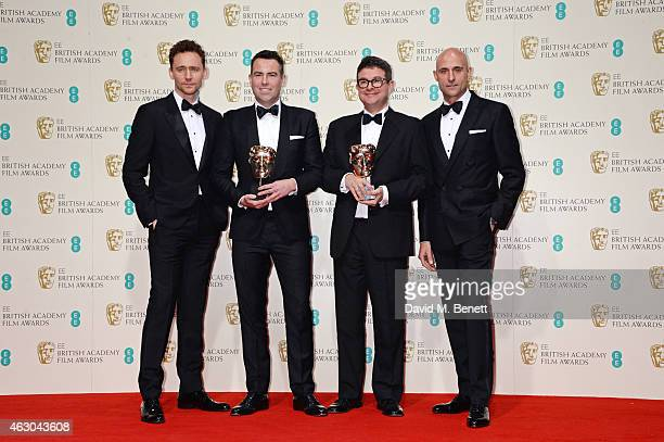 Tom Hiddleston Stephen Beresford and David Livingstone winners of Outstanding Debut by a British Writer Director of Producer for 'Pride' and Mark...