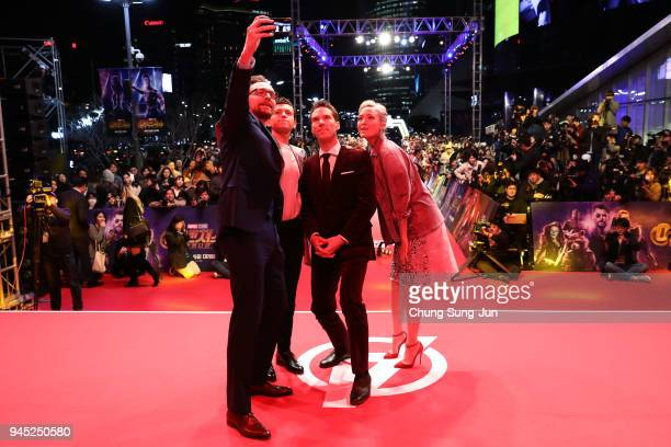 Tom Hiddleston Tom Holland Benedict Cumberbatch and Pom Klementieff attend the Seoul premiere of 'Avengers Infinity War' on April 12 2018 in Seoul...