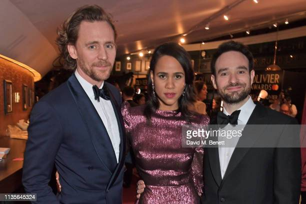 Tom Hiddleston Zawe Ashton and Charlie Cox attend The Olivier Awards 2019 with Mastercard at The Royal Albert Hall on April 7 2019 in London England