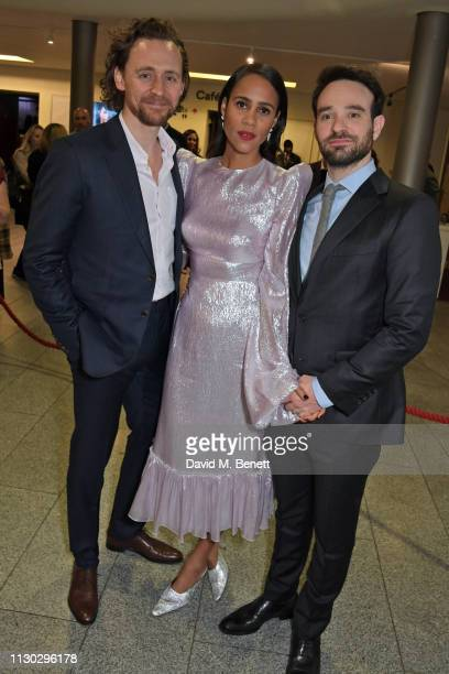 Tom Hiddleston Zawe Ashton and Charlie Cox attend the press night after party for Betrayal at The Cafe In The Crypt St MartinintheFields on March 13...
