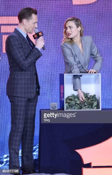 Tom HiddlestonSamuel JacksonBrie LarsonTian Jing attend the premiere of KongSkull Island on 16th March 2017 in Beijing China